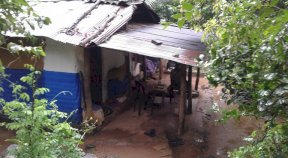 Flooding caused extensive damage to a house in Kaluana, Sri Lanka